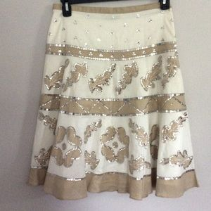 BCBG Tan White Sequin Skirt Size 6